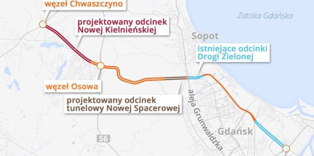 Przebieg Drogi Zielonej oraz nowego układu drogowego, domykającego tzw. dużą ramę drogową.