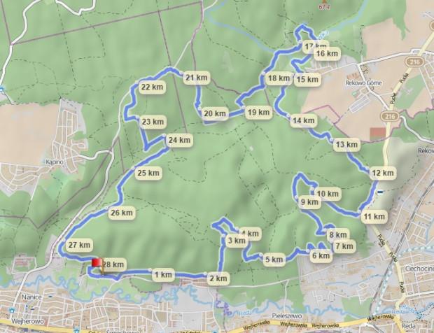 Schemat trasy w Wejherowie