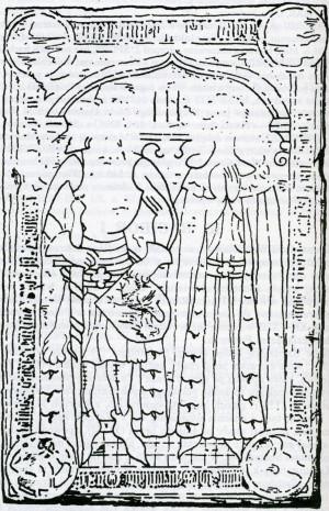 Racibor I Pomorski z żoną Przybysławą - jeden z wodzów chąśników. Płyta nagrobna z ok. 1370, w wieży kościoła w Uznamie.