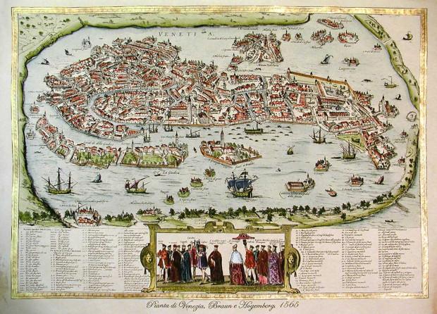Wineta była nazywana Wenecją Północy z racji tego, że tak jak ona miała być zbudowana na wodzie. Na ilustracji plan Wenecji z 1565 r.
