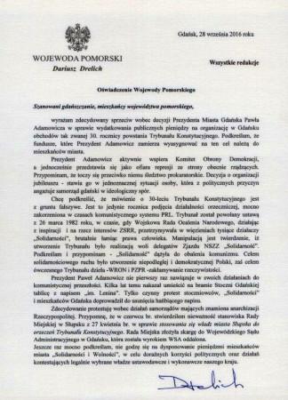 Skierowane do mieszkańców Gdańska i Pomorza oświadczenie wojewody Dariusza Drelicha.