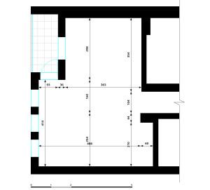 Rzut i wymiary części mieszkania, która podlega opracowaniu.