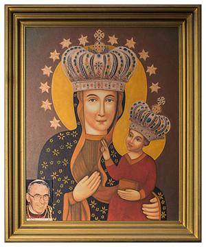 Obraz Matki Bożej Uśmiechniętej, który wisi na ścianie w pokoju pallotyna ks. Tadeusza Płonki.