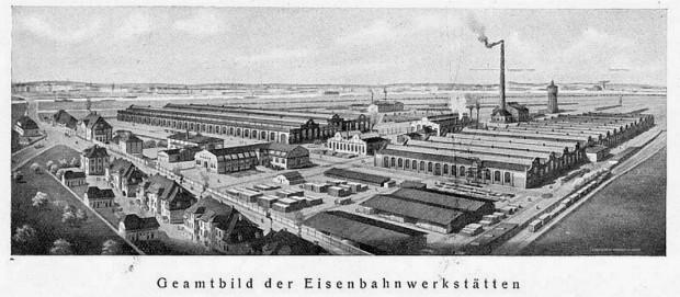 Widok na tereny ZNTK w Gdańsku z 1912 r.
