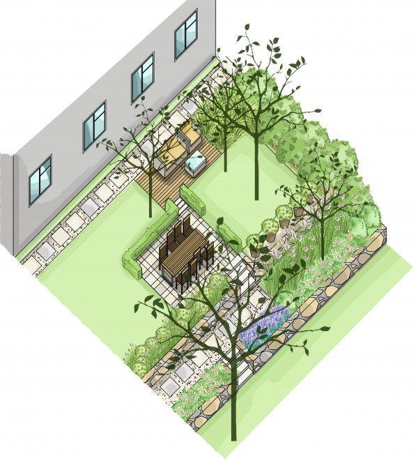 Przestrzeń do wypoczynku została wydzielona roślinnością. W projekcie wykorzystano także płyty o różnych formatach, które tworzą spójną aranżację ogrodu.