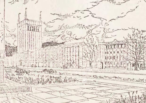 """Rysunek opisywanego wieżowca w """"Dzienniku Bałtyckim"""" z 1 stycznia 1953 roku, widok od strony północno-wschodniej. Źródło: Bałtycka Biblioteka Cyfrowa bibliotekacyfrowa.eu"""