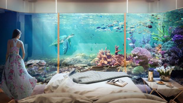 W każdym z domów zaprojektowano specjalny podwodny taras, na którym mają powstać sztuczne rafy koralowe. To one dadzą bezpieczne schronienie różnym gatunkom wodnych stworzeń, a zwłaszcza konikom morskim.