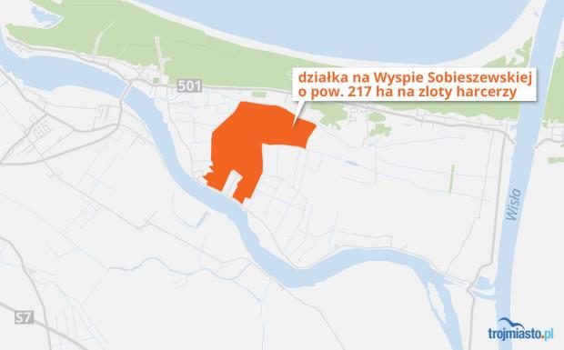 Obszar na Wyspie Sobieszewskiej, który będą zajmować harcerze.