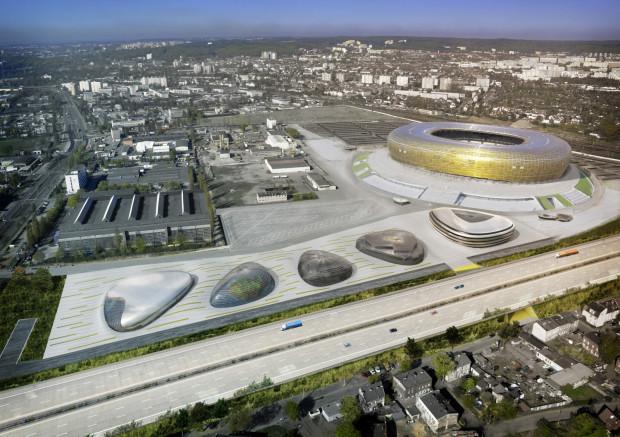 Wstępna koncepcja zagospodarowania terenów przystadionowych przygotowana przez firmę RKW.