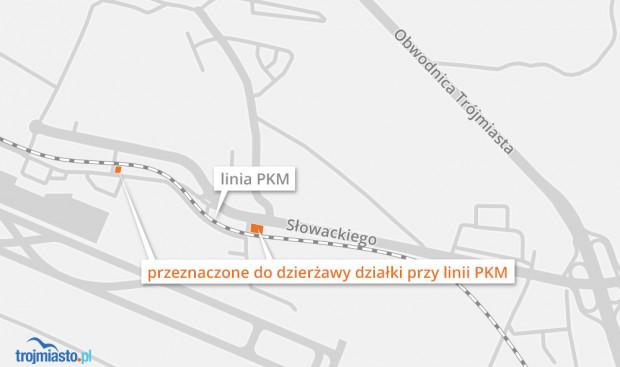 Lokalizacja atrakcyjnych działek PKM przy lotnisku.