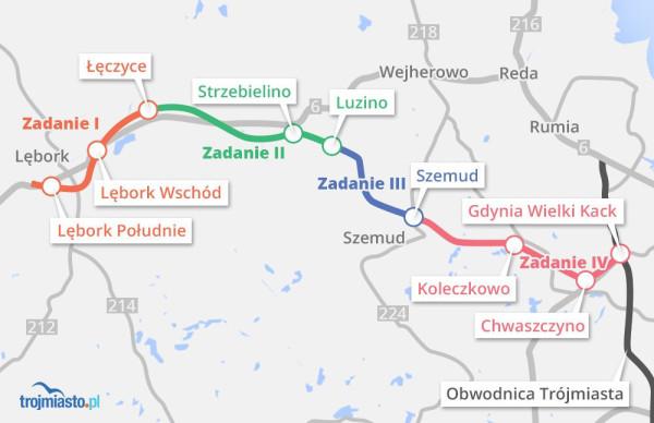 Przebieg Trasy Kaszubskiej z Trójmiasta do Lęborka.