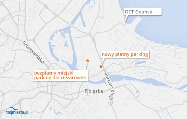 Lokalizacja parkingów dla kierowców ciężarówek jadących do gdańskiego portu.