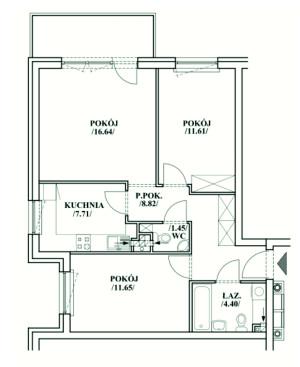 Rozkład mieszkania proponowany przez dewelopera.