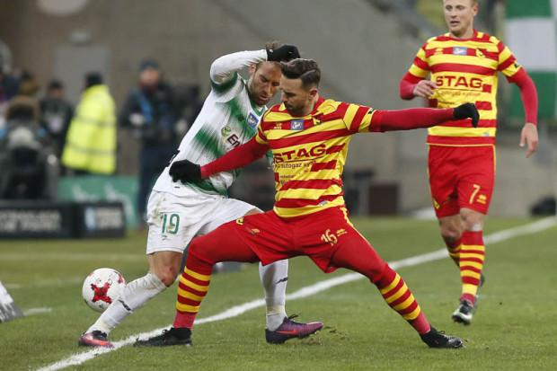 Mecz Lechii Gdańsk z Jagiellonią Białystok cieszył się w lutym największym zainteresowaniem uczestników Typera. Na zdjęciu Marco Paixao i Gutieri Tomelin.