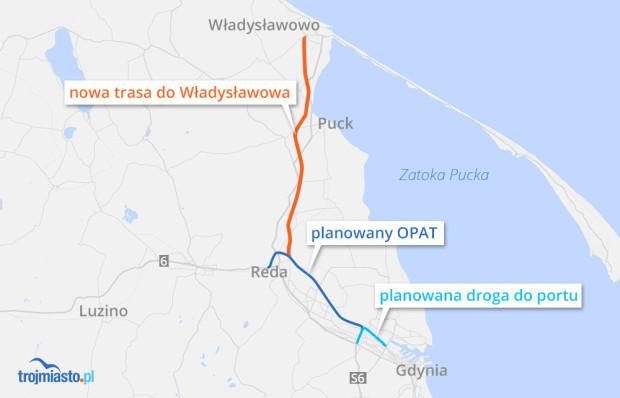 """Nowa droga z Gdyni do Władysławowa miałaby być gotowa """"za kilka lat""""."""