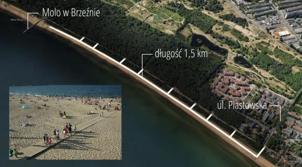 1,5 km deptak wzdłuż wydm na plaży może być świetną alternatywą dla tych, którzy nie lubią chodzenia po piasku lub dla spacerujących z dziecięcymi wózkami.