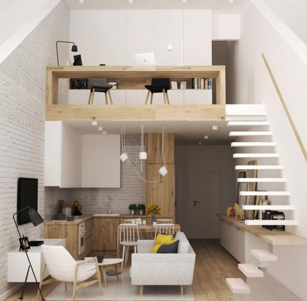 Pierwsza koncepcja zakłada stworzenie na początku antresoli  przestrzeni biurowej do pracy dla kilku osób. Dzięki temu rozwiązaniu uzyskamy więcej miejsca w sypialni, bo nie będzie tam stało biurko.