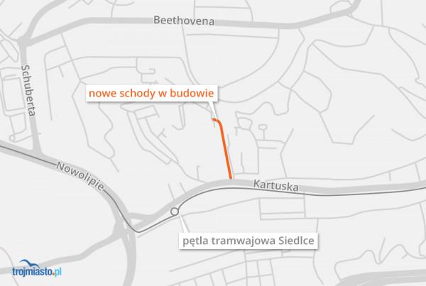 Schody od ponad 30 lat łączyły ul. Kartuską z ul. Paderewskiego na Suchaninie.