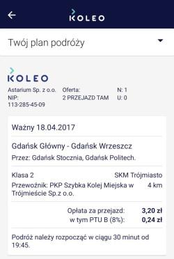 Fragment ekranu z zakupionym biletem w aplikacji na telefon Koleo.