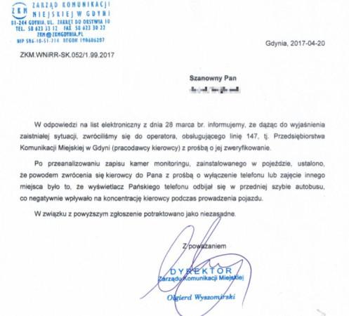 Pismo z ZKM w Gdyni do naszego czytelnika.