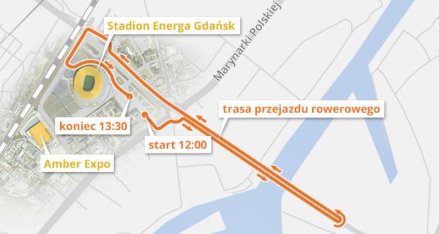 Trasa sobotniego przejazdu przez tunel pod Martwą Wisłą.