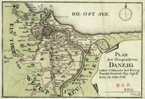 Niemieckojęzyczna mapa z 1783 roku, przedstawiająca blokadę Gdańska przez Prusy.