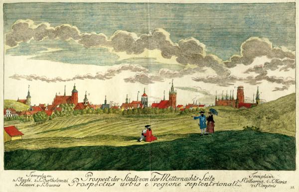 Panorama Gdańska od strony północnej autorstwa Matthaeusa Deischa, wykonana w latach 60. XVIII wieku.