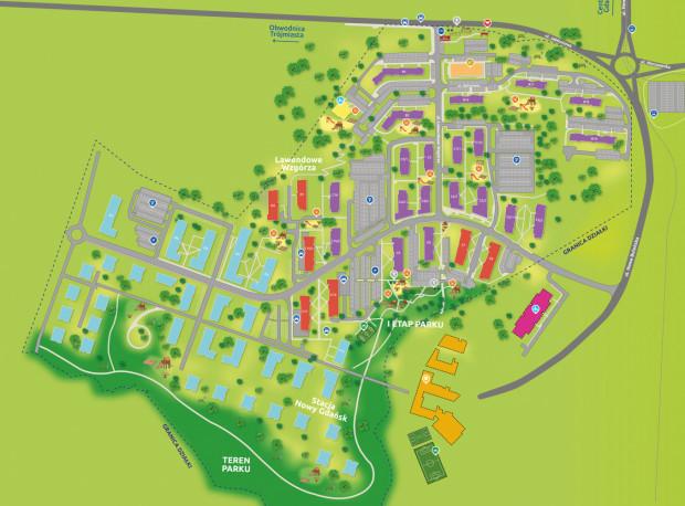 Plan osiedla Lawendowe Wzgórze wraz z licznymi terenami do wypoczynku.