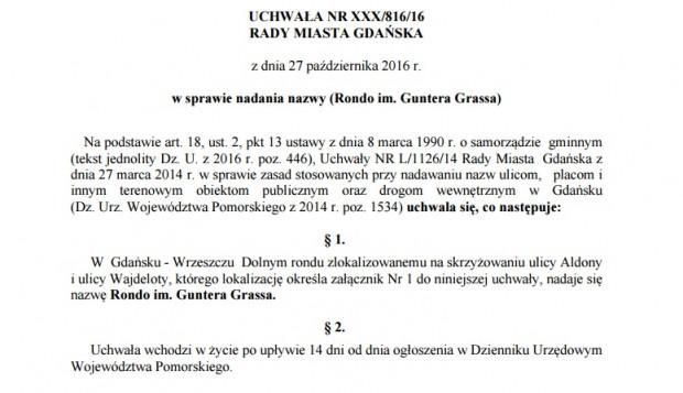 Treść uchwały przyjętej przez Radę Miasta Gdańska.