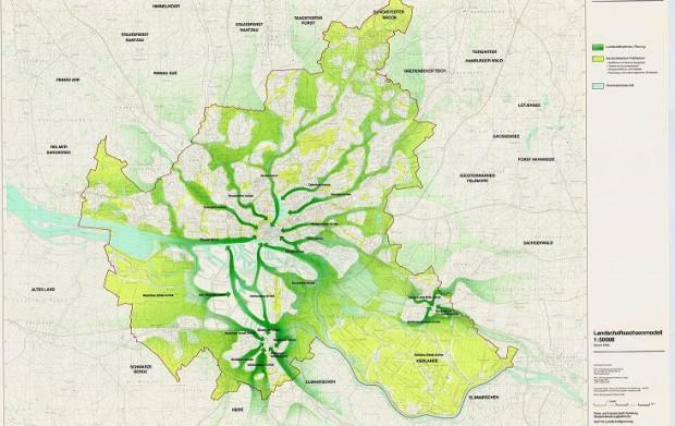 Koncepcja terenów zieleni dla Hamburga łączących przedmieścia z centrum miasta.