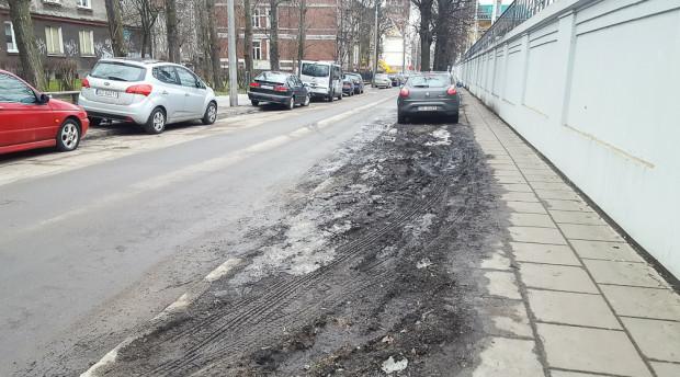 Brak działań Straży Miejskiej kończy się dewastacją zieleni przez kierowców. Nz. ul. Zator-Przytockiego we Wrzeszczu.