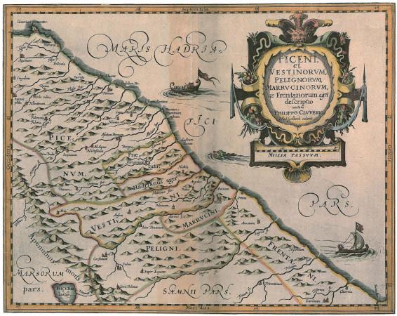 Jedna z map prezentujących półwysep Apeniński i Morze Adriatyckie, wchodząca w skład atlasu opracowanego przez Filipa Clüvera.