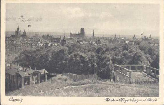 Widok z Góry Gradowej w Gdańsku w 20-leciu międzywojennym.