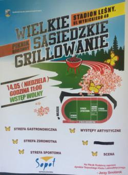 Plakat reklamujący wspomniany piknik. Czarnym flamastrem zamazano informację o Piwnej Mili, która miała być jednym z elementów imprezy.