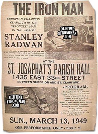 Plakat zachęcający do udziały w pokazie siły Stanisława (Stanleya) Radwana.