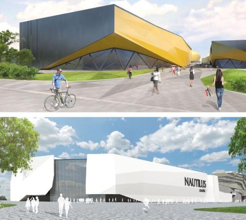 Dwie propozycje zabudowy terenów przy stadionie w Letnicy zaproponowały firmy PFI Future (na dole) oraz ADV POR Property Investment (u góry). Zarządzająca terenami przy stadionie miejska spółka wybierze tylko jedną z nich.
