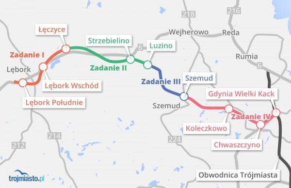 Trasa Kaszubska podzielona na zadania - rząd chce zrealizować zadanie trzecie i czwarte, czyli odcinki różowy i granatowy.