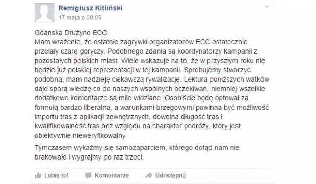 Wypowiedź Remigiusza Kitlińskiego na facebookowej grupie Kręć Kilometry dla Gdańska.