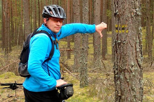 Oznakowanie umieszczone z boku drzewa jest niewidoczne dla przemierzających szlak turystów