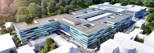 Siedziba Centrum Medycyny Nieinwazyjnej zaprojektowana została jako kompleks czterech połączonych ze sobą budynków A, B, C, ułożonych w kształt litery U, połączonych trzema łącznikami z Centrum Medycyny Inwazyjnej (CMI) oraz budynku D, usytuowanego w miejscu dawnego budynku 18, z przejściem prowadzącym do budynku C.