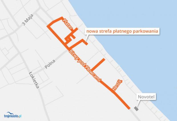 Wszystkie ulice, które sopoccy radni zdecydowali się dołączyć do aktualnie obowiązującej strefy płatnego parkowania.