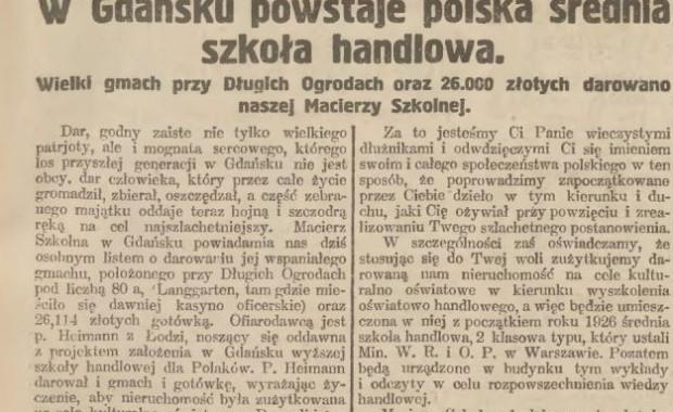 """Wycinek z """"Gazety Gdańskiej"""" z 1925 r. z przedrukiem listu dziękczynnego wystosowanego przez zarząd Macierzy Szkolnej w Gdańsku do Edwarda Heimana."""