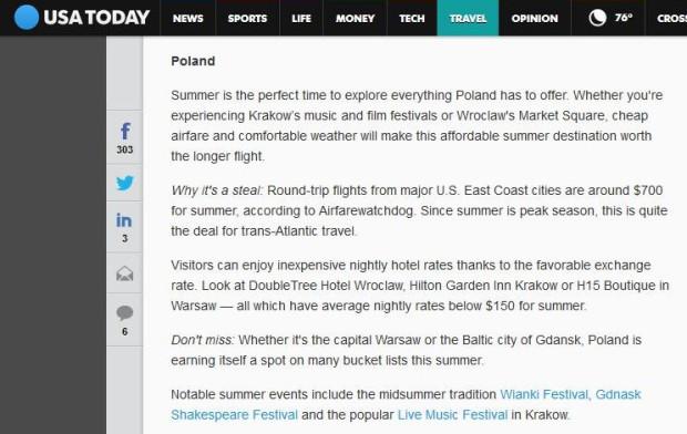 Notka, w której popularna gazeta USA Today poleca wakacyjny urlop w Polsce, w tym w Gdańsku.