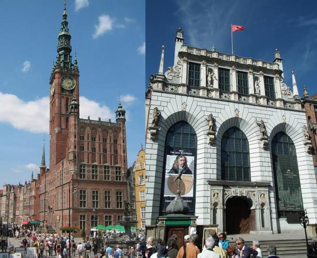 Ratusz i Dwór Artusa, jedne z najbardziej rozpoznawalnych zabytków w Gdańsku. Ich przedproża po sezonie turystycznym przejdą kompleksowy remont.