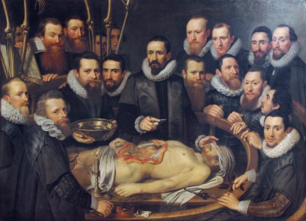 Publiczna sekcja zwłok (lekcja anatomii) w czasach Oelhafa - obraz Michiela i Pietera van Miereveltów z 1617 r. (fot. Wikimedia Commons)