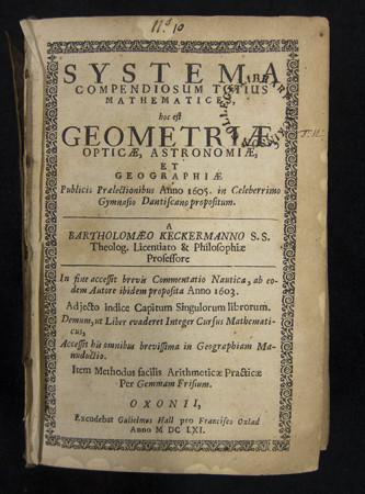 Strona tytułowa jednego z kompendiów Keckermanna.