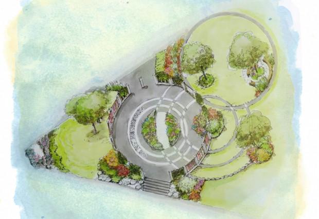Wizualizacja planowanego zagospodarowania ogrodu.