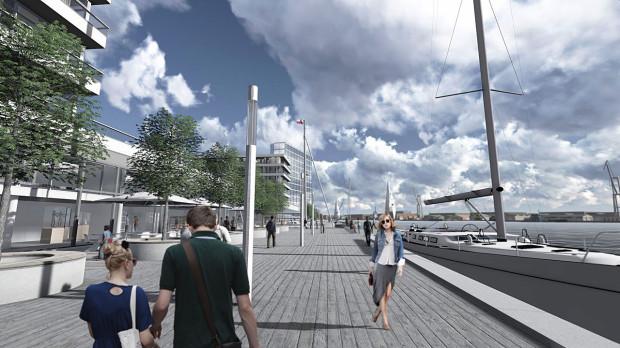 Wizualizacja do koncepcji zagospodarowania z 2013 roku. Nowi właściciele podtrzymują, że w ramach projektu powstanie tętniące życiem nabrzeże z dogodnymi przejściami dla pieszych, marina, przystanek wodny.
