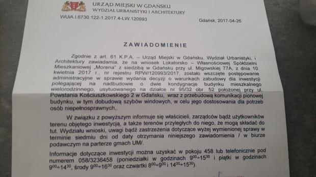 Zawiadomienie, jakie otrzymali mieszkańcy budynku przy ul. Powstania Kościuszkowskiego 2.