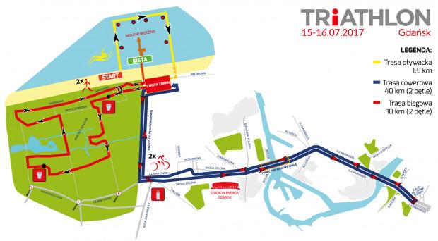 Trasa 6. edycji Triathlonu Gdańsk.